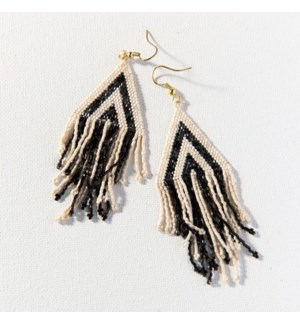 """black ivory stripe luxe earring with fringe 4.25"""""""
