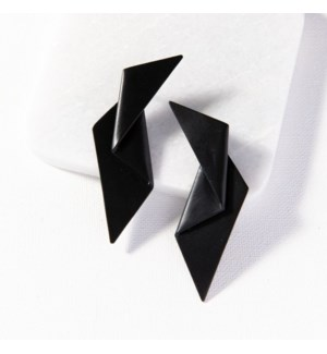 black brass origami earring 3 in.