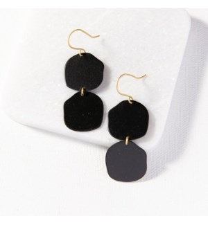 black brass matte double organic circle earring 2.5 in.