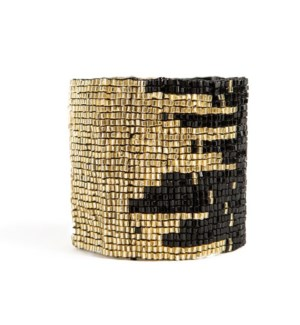 black and gold stretch bracelet 2 in.