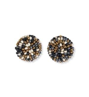 """black confetti small post earring .5"""""""