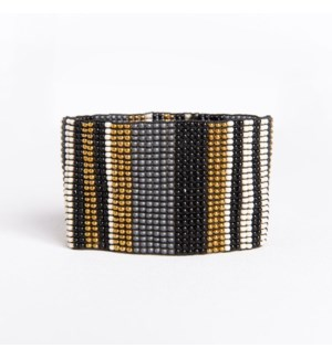"black ivory grey gold stripe bracelet 1.5"" w"