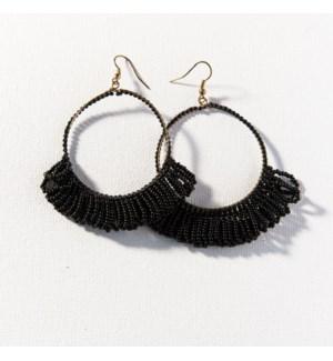 """black fringe hoop seed bead earrings 3.5"""""""