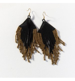 black and gold fringe earrings 5 in.