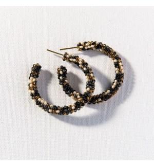 "black confetti small hoop earring 1.25"""