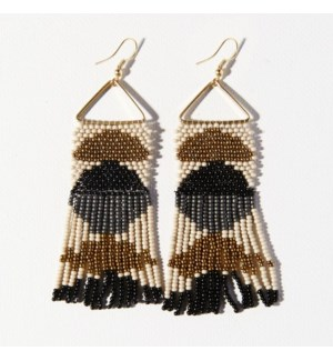 """black gold half circles on triangle earring 3.75"""""""