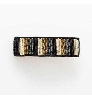 "black gold grey ivory stripe beaded barrette 1"" x 3.5"""