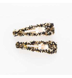 black confetti beaded hair clip .5 in. x 2.25 in.