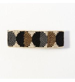 "black gold ivory circle beaded barrette 1"" x 3.5"""