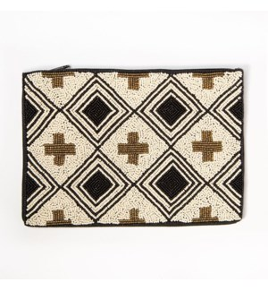 """black ivory and gold cross seed bead clutch 9"""" x 6"""""""