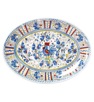 16 COUPE OVAL PLATTER ROOSTER BLUE