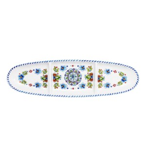 "16"" OVAL SECT TRAY MADRID WHT"
