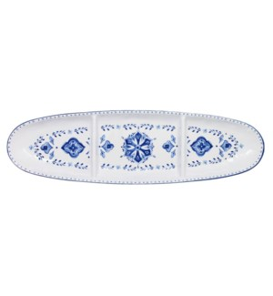 "16"" OVAL SECT TRAY MORROCAN BLUE"