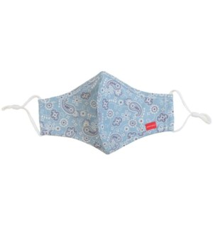100% Cotton Non-Medical Mask with filter-Light Blue Print