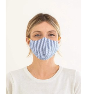 100% Cotton Non-Medical Mask Reversible - Navy Stripe-Blue Chambray