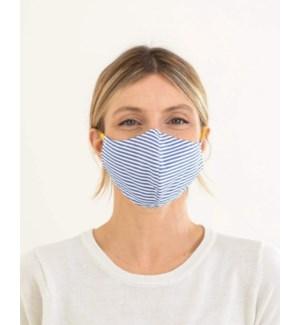 100% Cotton Non-Medical Mask Reversible - Navy Stripe-Blue Chambray