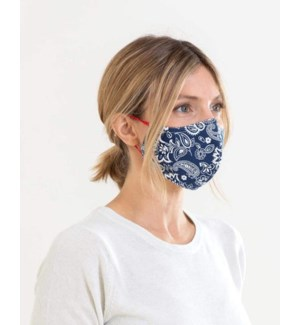 100% Cotton Non-Medical Mask Reversible - Navy Print-Dark Chambray