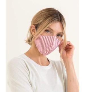 100% Cotton Non-Medical Mask Reversible - Red Stripe-Black Chambray