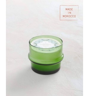 13 oz. Large Green Glass Candle - Moroccan Mint