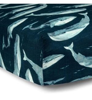 Bamboo Crib Sheet Blue Whale