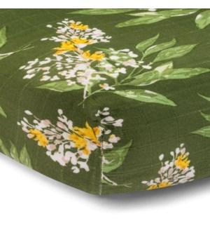 Bamboo Crib Sheet Green Floral