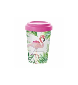 BAMBOO TRAVEL CUP W/LID- TROPICAL FLAMINGO