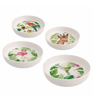 BAMBOO BOWL SET (4)-TROPICAL FLAMINGO