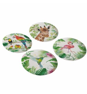 BAMBOO PLATE SET (4)-TROPICAL FLAMINGO