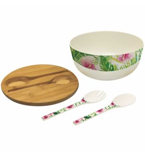 BAMBOO SALAD BOWL-TROPICAL FLAMINGO