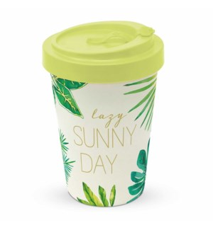 BAMBOO TRAVEL CUP W/LID- ST. TROPEZ:  LAZY SUNNY DAY (THE JUNGLE)