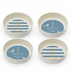 BAMBOO BOWL SET (4)-ANCHOR & BEACHLIFE