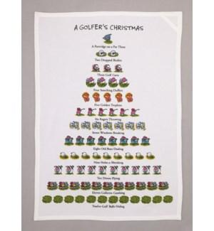 A Golfer's Christmas Print Kitchen Towel