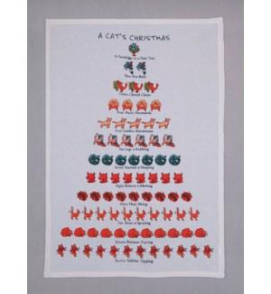 A Cat's Christmas Print Kitchen Towel