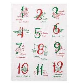 12 Days of Christmas Print Kitchen Towel