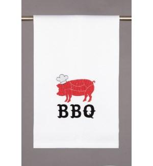 "BBQ PIG KITCHEN TOWEL 16X25"" 100% COTTON"