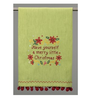 A Merry Little Christmas Embroidered Kitchen Towel