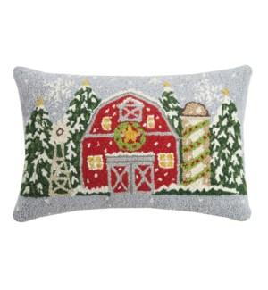 Christmas Farm House Hook Pillow