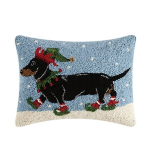 Dachshund In Elf Clothing Hook Pillow