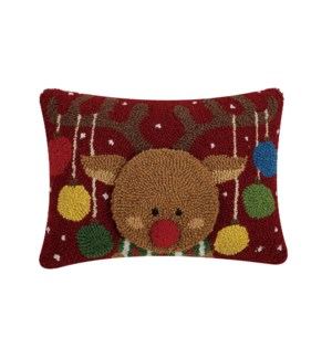 3D REINDEER WITH ORNAMENTS HOOK PILLOW BF
