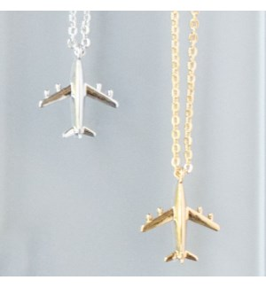Airplane Necklace - Silver