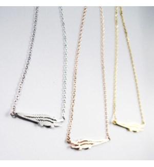 Alligator Necklace - Rose Gold