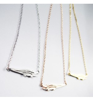 Alligator Necklace - Silver