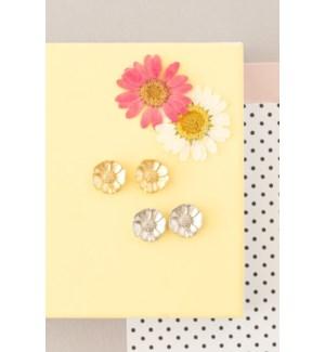 Anemone Flower Post - Silver