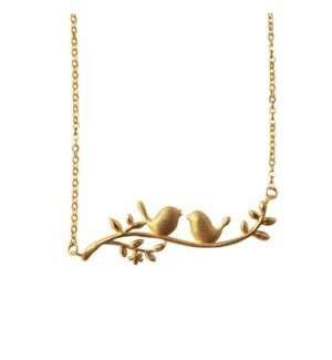 Birds on Dogwood Necklace - Gold
