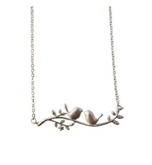 Birds on Dogwood Necklace - Silver