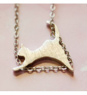 Climbing Cat Necklace - Silver