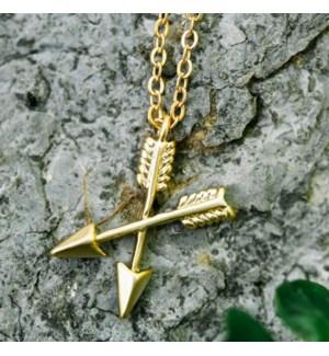 Crossing Arrows Necklace - Gold