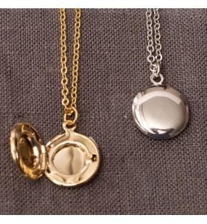Circle Locket Necklace - Gold