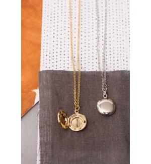 Circle Locket Necklace - Silver
