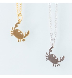 Crab Snapping Necklace - Gold